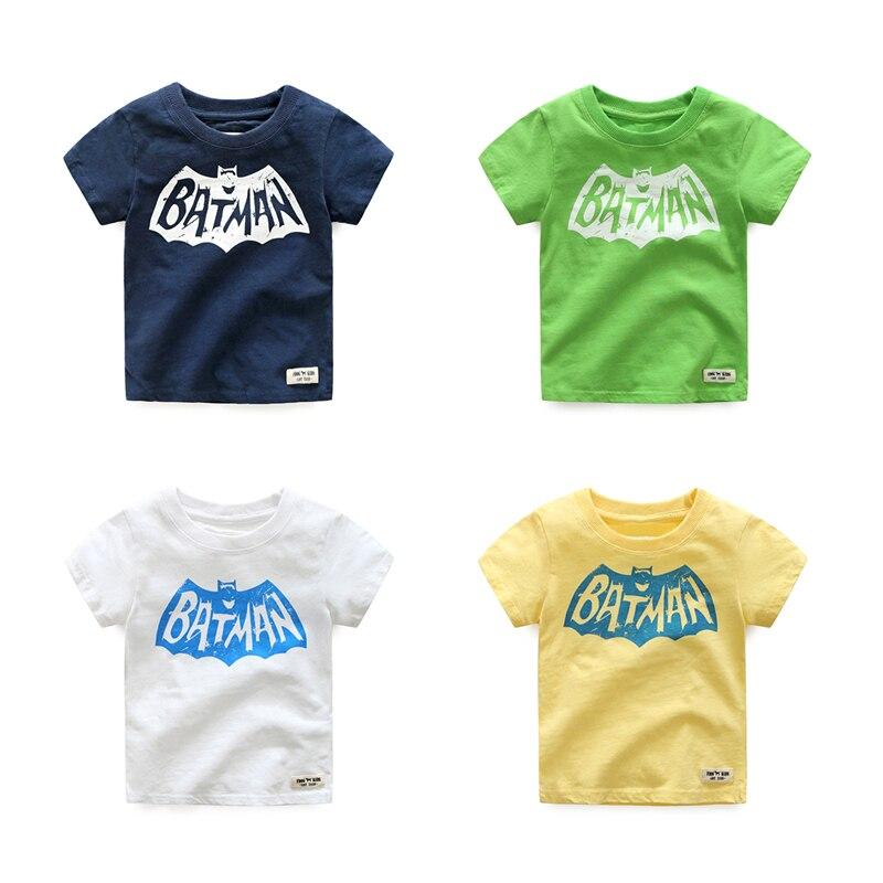 2018 Batman de Manga Curta T-shirt para o Menino de Verão Tops Tees Carta Camisola de Algodão Para Meninos Crianças Roupas