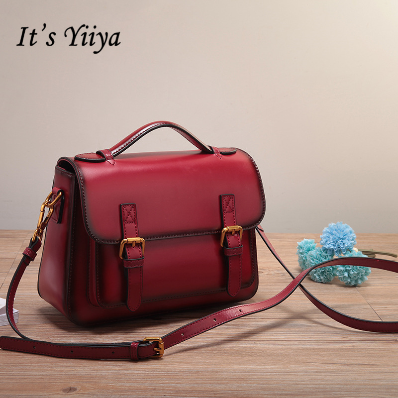 It's YiiYa New 5 Colors Genuine Leather Women HandBag Girls Shoulder Bag Lady Style Quality Messenger Bags DDY065