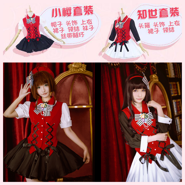 [Stock] Anime Cardcaptor Sakura Tomoyo Red-Black Gothic Dress Halloween Cosplay costume Full set +Shorts S-XL New 2017 free ship free ship gou matsuoka long wine red women style anime cosplay wig one ponytail 370f