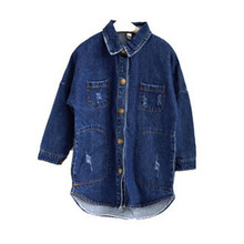 цена на DFXD Baby Girls Fashion Blouse 2018 Spring New Long Sleeve Back Letter Print Single-breasted Denim Shirts Kids Girls Blouse 2-8Y