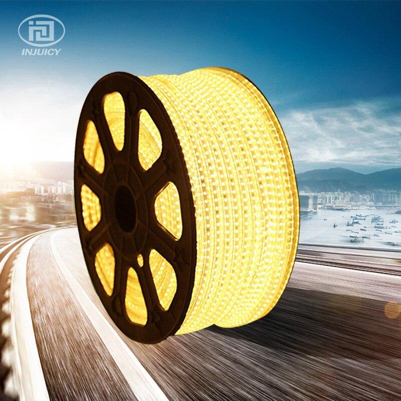 Высокое качество 3528 Светодиодные ленты Клейкие ленты света теплый белый/белый Водонепроницаемый гибкие SMD Светодиодные ленты 60leds/М AC 110 120 В - 3
