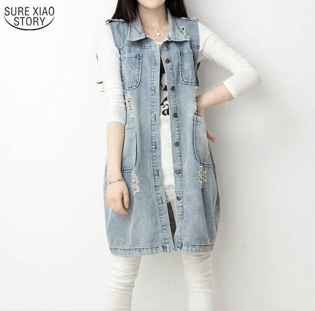 Осень 2016 Новая Мода Vintage Отверстие Джинсовые Street Clothing for женщины Женщина Долго Верхняя Одежда Куртка Плюс Размер S-5XL Топы 093D 45