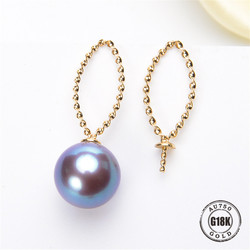 DIY Ohrringe Schmuck Erkenntnisse Blank Ohrringe Halterung AU750 G18K Gelb Gold Einfache Halterung Natürliche Perle Nadel Kappe Zubehör