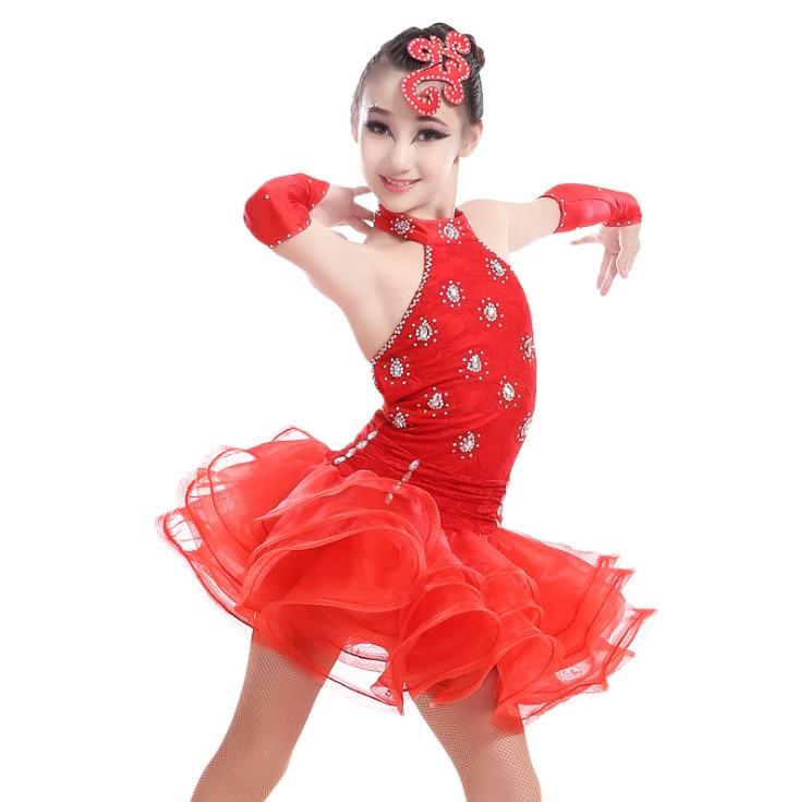 New 2017 Latin Dance Dress For Girls Dancewear Ballroom Latin Dance Costumes Dress Skirt Kids Practice/Competition Dresses 3colors 100 160cm height kids child girls tassel dress ballroom latin salsa fashion dancewear dance costume dresses gifts
