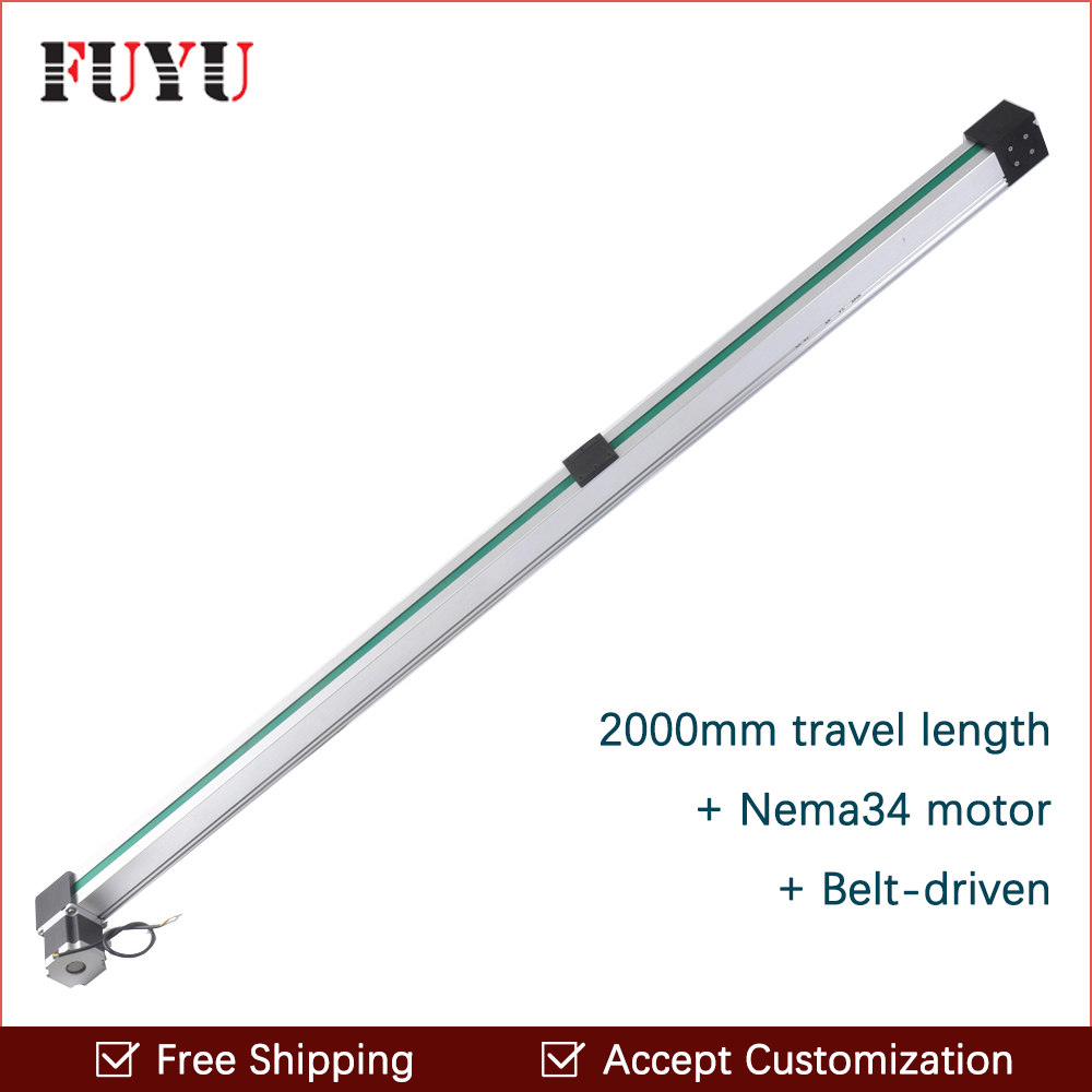 Free shipping Fuyu Brand Belt Driven 2000mm stroke Linear Motion Guide Rail For Printer belt driven guided linear actuator any travel length linear motion motorized linear stage heavy duty belt driven stage