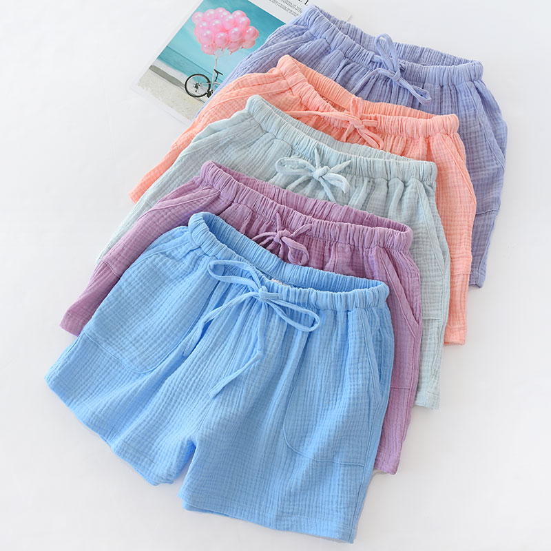 Summer Cotton Crepe Couple Shorts Men And Women Sleep Shorts Breathable Leisure Bottoms Pajama Pants Solid Sleeping Shorts