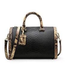 Cowhide Women bag Genuine Leather Handbags Crocodile Boston Tote Bag shoulder Messenger Bags luxury Designer Bucket
