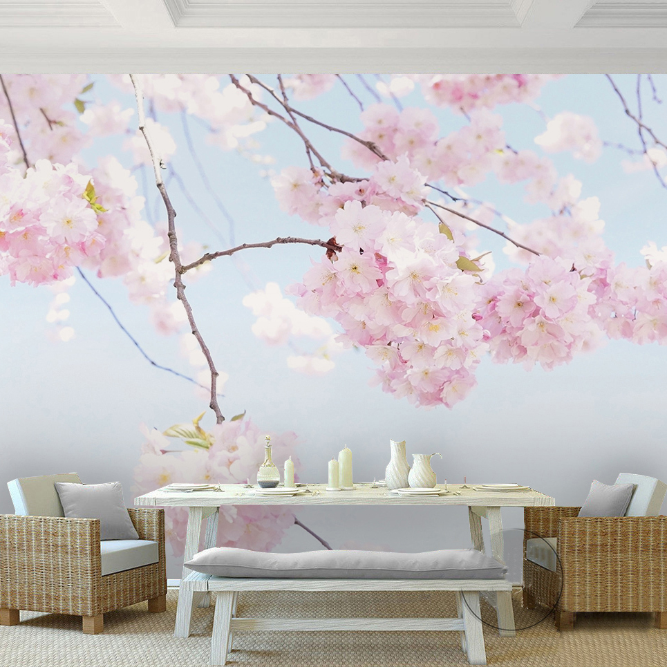 Custom photo wallpaper cherry blossom beautiful floral for Beautiful wallpaper home decor
