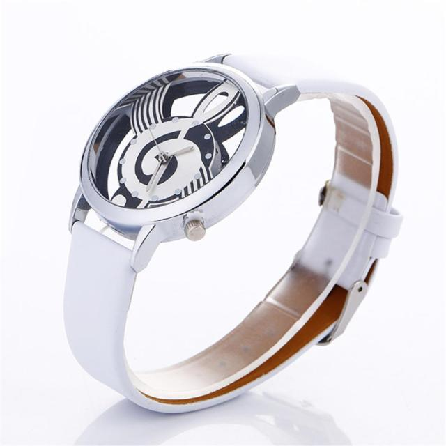 stylish Musical Note Painting Leather Bracelet Lady Womans Wrist Watches simple
