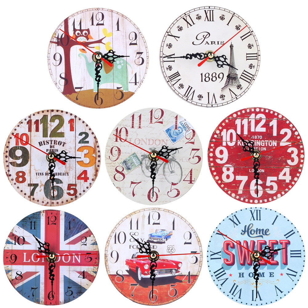 Vintage Wooden Wall Clock Shabby Chic Rustic Kitchen Wall Stickers ...