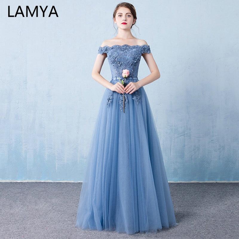 LAMYA Floor Length Lace Formal Evening Dresses Beading Boat Neck Party Dress Vintage Blue A Line Prom Gown 2019 Vestido De Festa