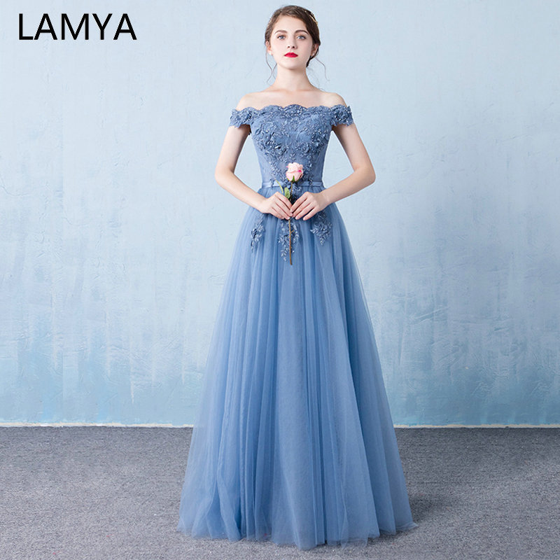 LAMYA Floor Length Lace Formal   Evening     Dresses   Beading Boat Neck Party   Dress   Vintage Blue A Line Prom Gown 2019 Vestido de Festa