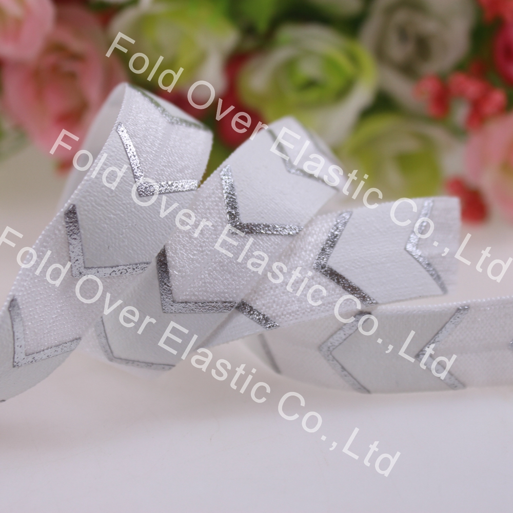 """Amiable Small Package Big Silver Foil Chevron Printed Foe Elastic 5/8""""fold Over Elastic 10yards/roll White Free Shipping"""