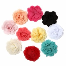 10pcs/lot 3.15DIY Chiffon Petals Poppy Artificial Flower Rolled Rose Fabric Hair Flowers For Girls Accessories Kidocheese