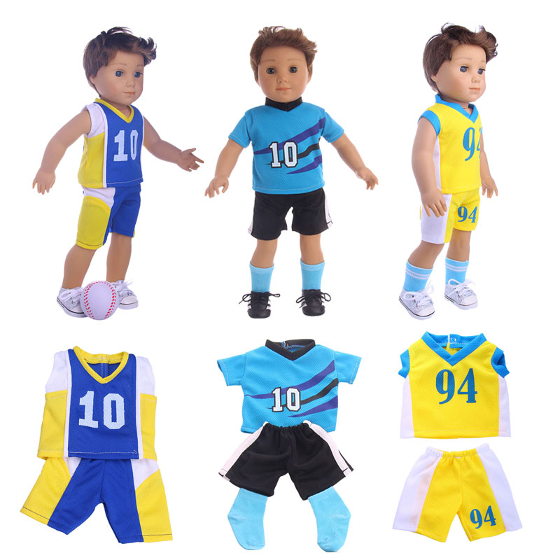 Doll Clothes Football Clothing Shoes Suit Fit 18 Inch American Doll & 43 Cm Baby Doll For Our Generation Girl`s Christmas Toy