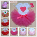 Baby gifts birthday tutu set Newborn Cartoon heart bodysuit +bow hair band+lace tutu skirt 3 pieces sets toddler girls clothing