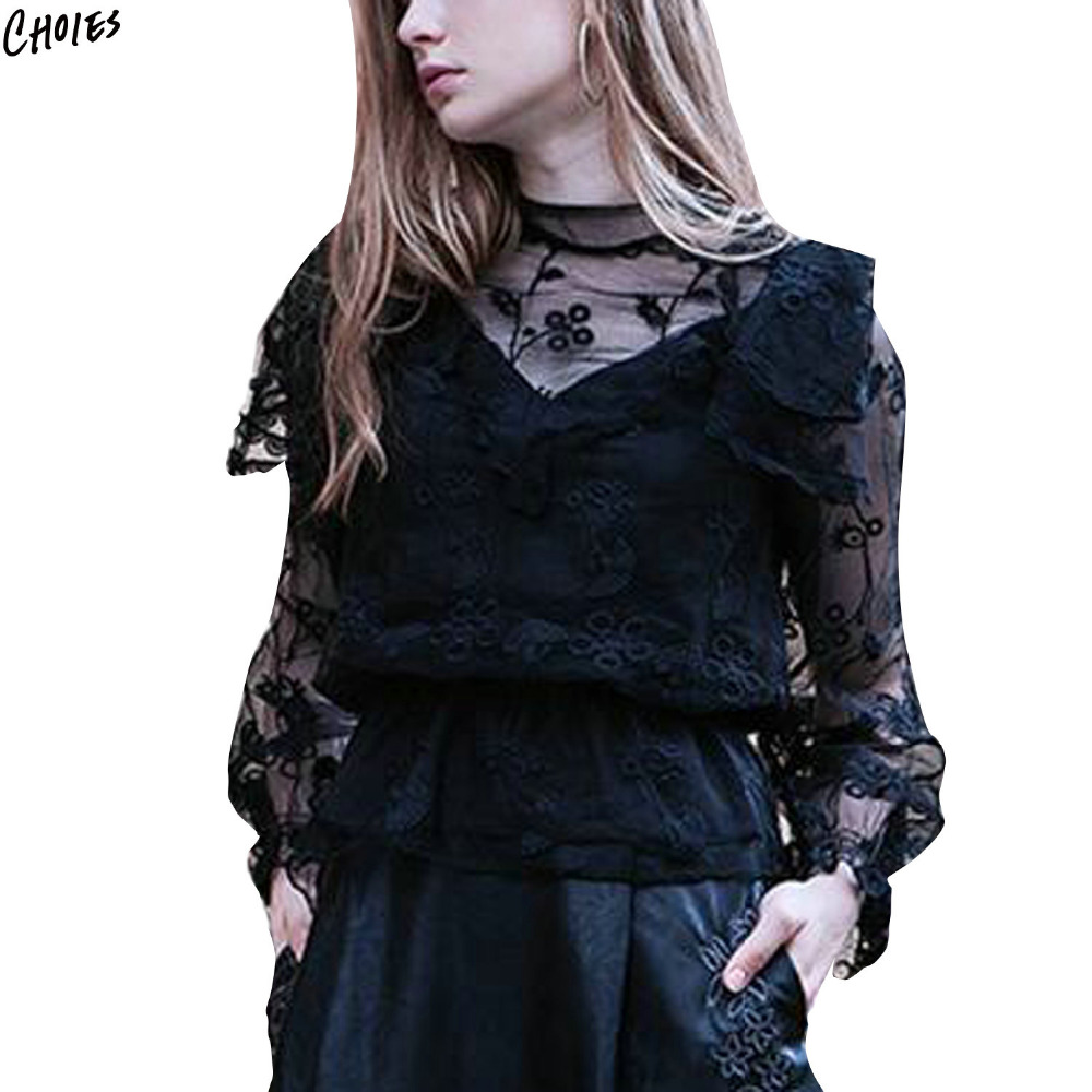Buy White And Black Floral Embroidered Blouse Women Tendencies Tshirt Stay Real Hitam Xl 4 1 2 3