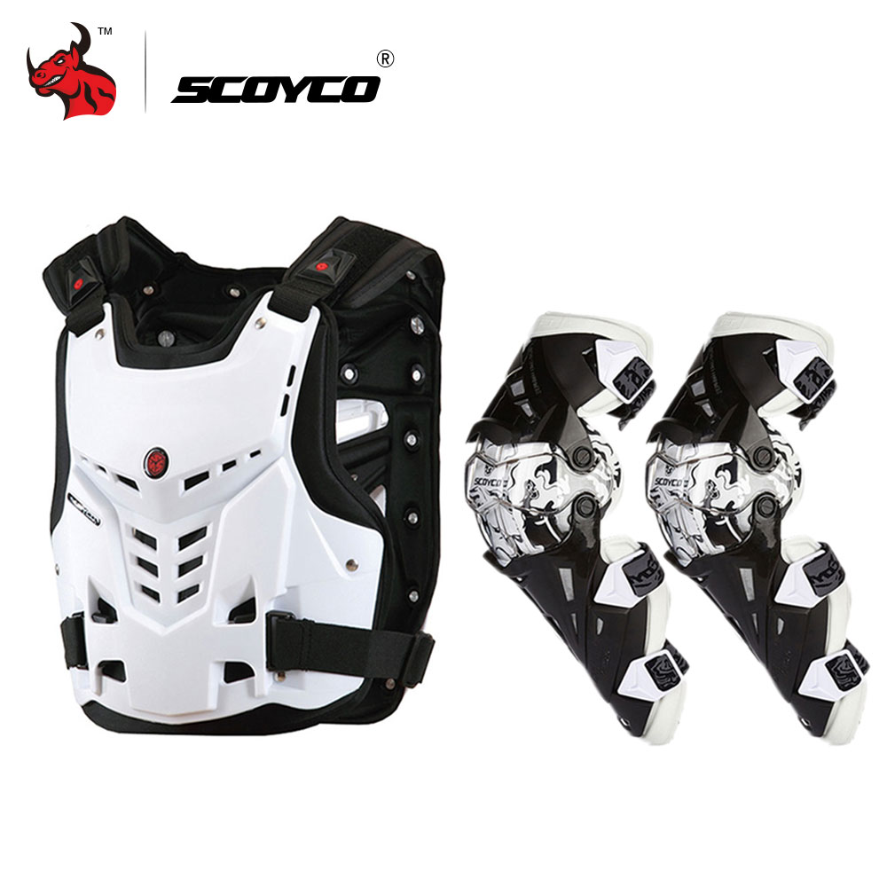 SCOYCO Motorcycle Armor Motorcycles Riding Chest Protective Gear Motocross Off-Road Racing Vest+motorcycle Knee herobiker armor removable neck protection guards riding skating motorcycle racing protective gear full body armor protectors