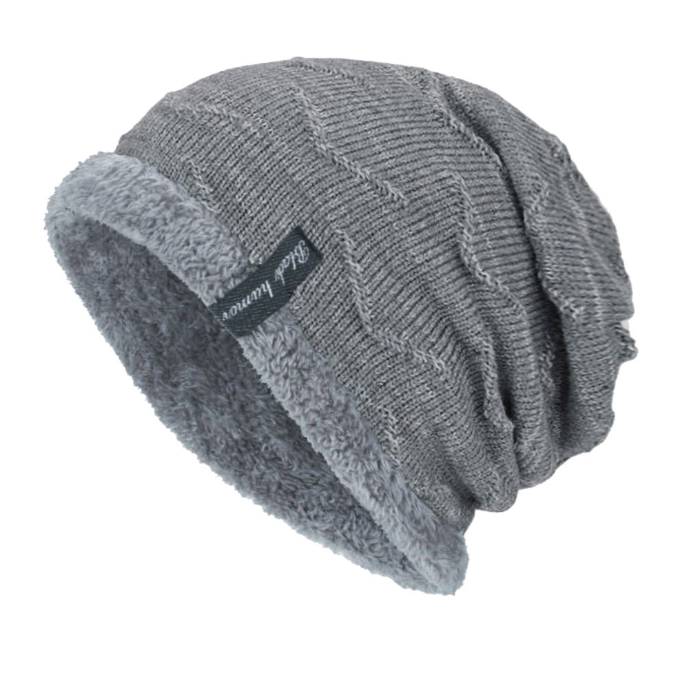 b8cee05ab4a40 Men Winter Hat Knit Scarf Warm Fur Skullies Beanie Bonnet Hat Fleece ...