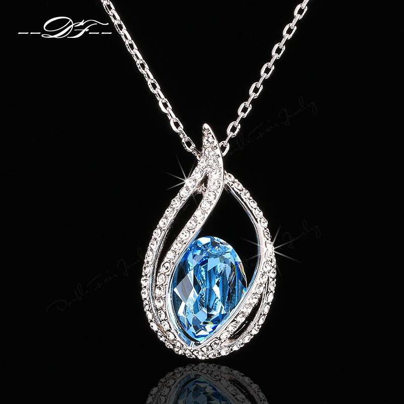Hot Sale Unique Chic Cubic Zirconia Big Crystal Elegant Necklace Pendants Wholesale Fashion Wedding Jewelry For