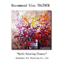 จัดส่งฟรีมือวาดศิลปะจิตรกรรมนามธรรมดอกไม้ภาพวาดสีน้ำมันสำหรับตกแต่งผนังโมเดิร์นตกแต่ง...