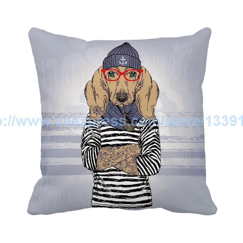 Marine Style Fashion Tattoo Dog print Custom Sofa Chair Cushion Home Decor Accent Throw Pillow Cojin Decorative Pillows Almofada