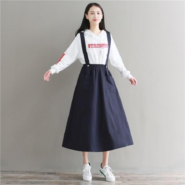 Mori Girl Spring Autumn Women Casual Dress Sleeveless Spaghetti Strap  Female Vestidos Casual Loose Solid Cotton 9a1b4fd39823