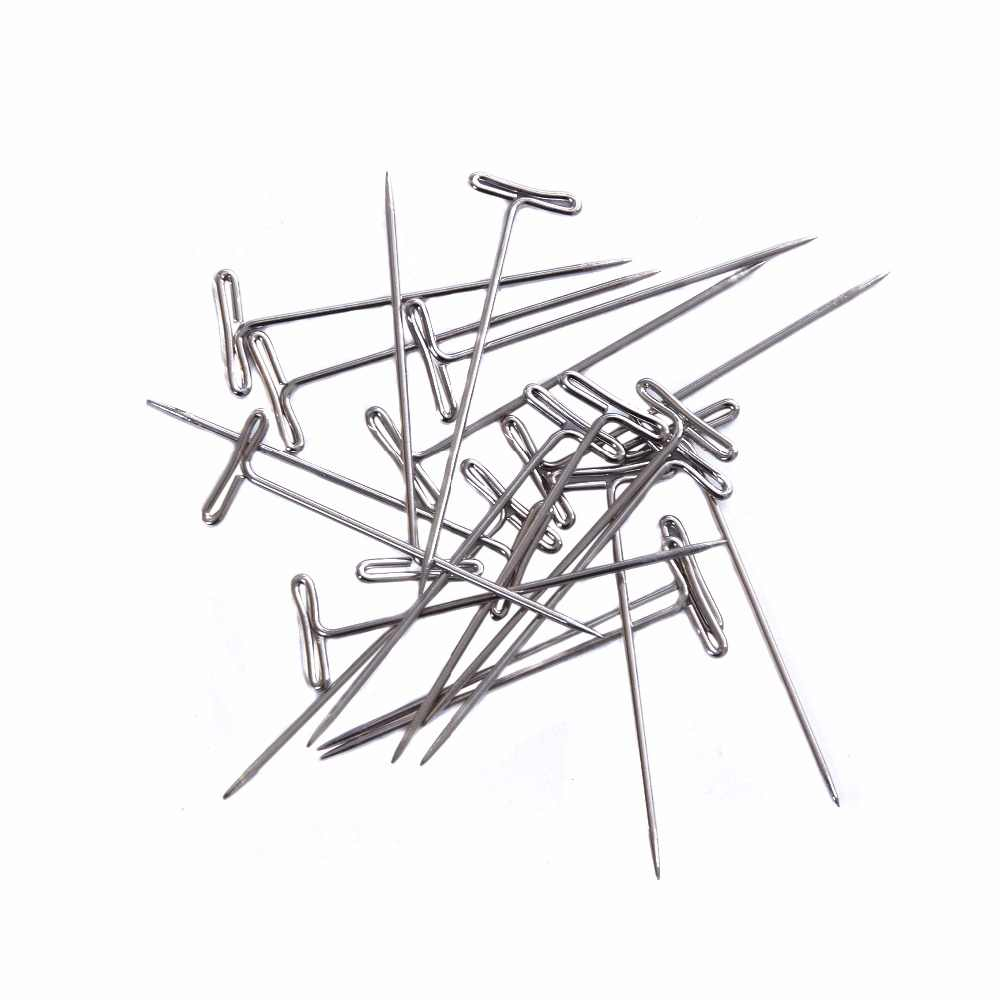 24 Pcs TPins (51mm) For Wig On Foam Head Style T Pin Needle Brazilian Indian Mannequin Head Type Sewing Hair Salon Styling Tools