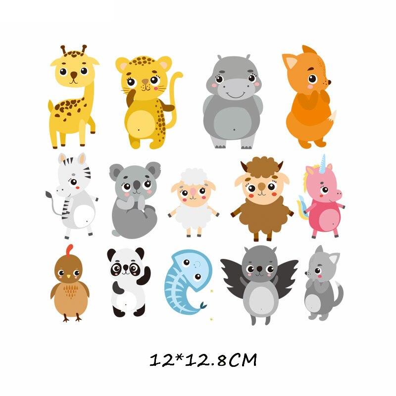 Набор патчей с изображением животных из мультфильмов, милые патчи с изображением единорога, кошки, совы, собаки, цветов для детей, одежда для девочек, футболка, сделай сам, термопресс - Цвет: 618