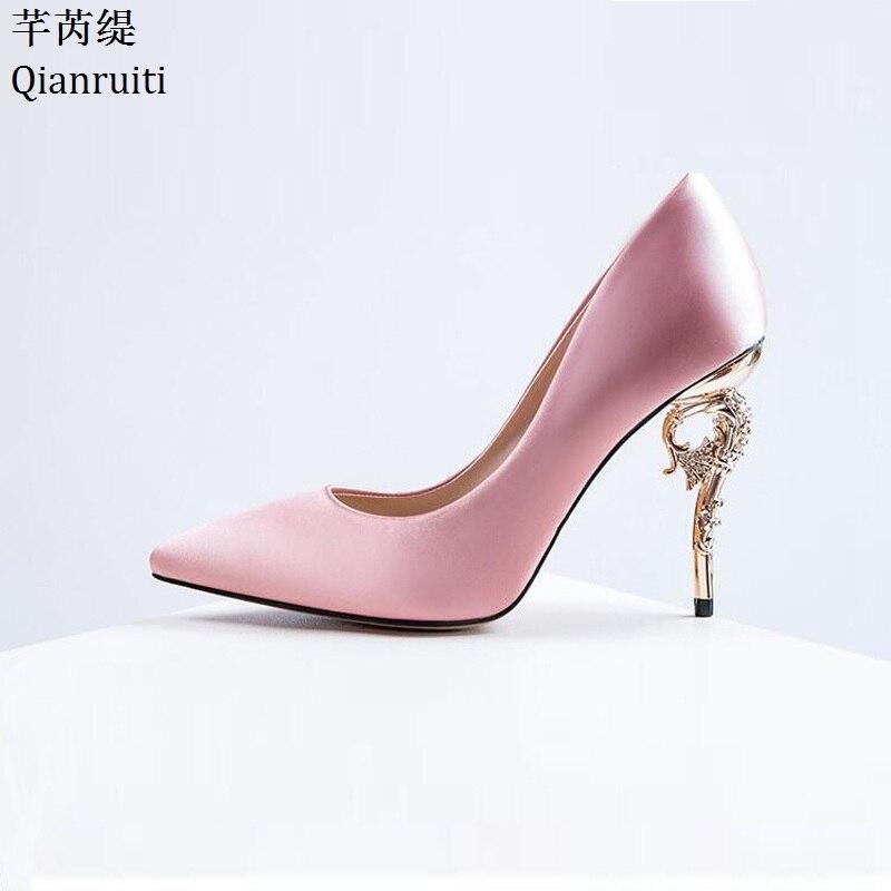 Haute Talons Stiletto Simples Métal Pointu Rouge Soie Sexy Qianruiti Mariée Bout De Black Rose Femmes Chaussures Pompes pink Mariage blue twW8zI0Sqn