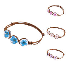 Best Price Rope Charm Friendship Bracelets Peach Blossom Flower Crystal Gem Accessories Wedding Women Jewelry(China)