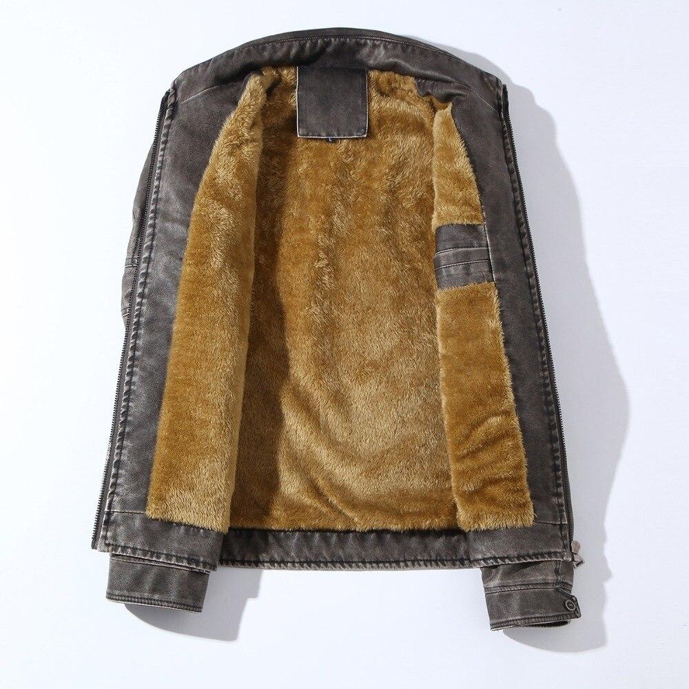 HTB1NA8hXvjsK1Rjy1Xaq6zispXaM Men PU Leather Jacket 2019 New Autumn Winter Men's Thick Casual Warm Stand Collar Zipper Coats Male Fashion Motorcycle Jackets