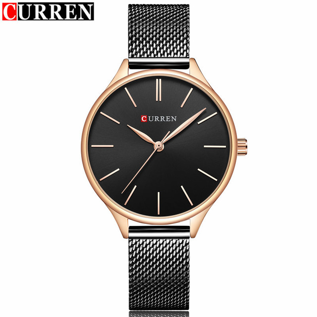 2018 Women's Fashion Casual Dress Quartz Watch Curren Brand Luxury Gold Mesh Strap Bracelet Women Wristwatch Ladies Clock Reloj luxury golden mesh wristwatch new fashion analog quartz watch women steel gold casual watch ladies simple dress clock hours