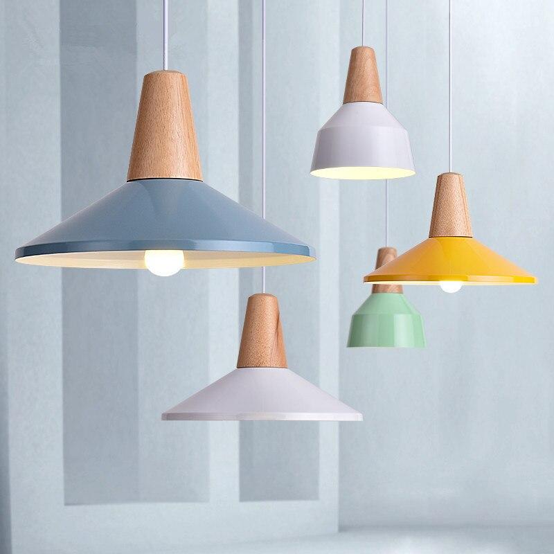 luz pendiente moderna lmpara de madera y aluminio colorido restaurante bar caf comedor lmpara colgante cocina