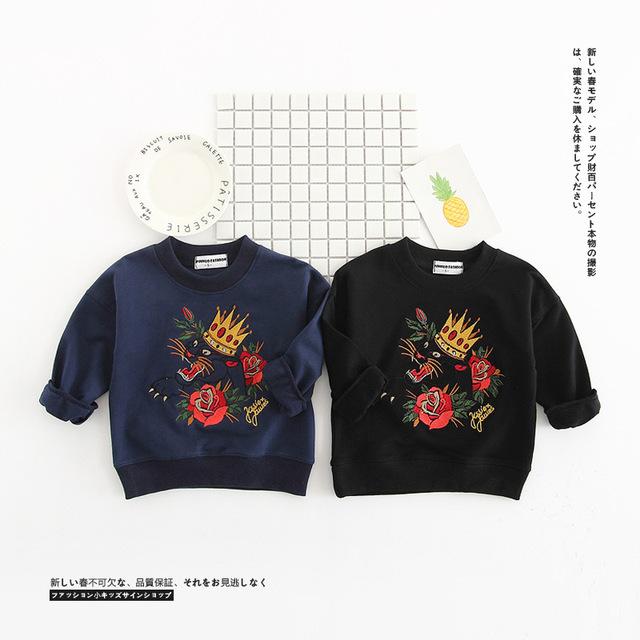 Ins hot-venda primavera nova chegada criança do sexo masculino meninas top clothing bordado camisola de leopardo
