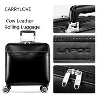 CARRYLOVE чашку посвященный ретро Роскошные 16/20/22 размер кожа коровы Rolling Чемодан Spinner бренд дорожного чемодана