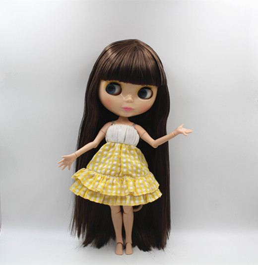 Blygirl Blyth doll Dark brown bangs straight hair nude doll 30cm joint body 19 joint DIY doll suitable for changing makeup 25 28cm head blonde dark brown doll hair for handmade doll hair for homemade cloth toy diy dolls 18 inch doll hair repair 006
