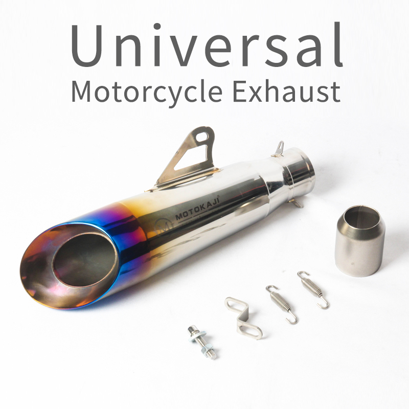 Inlet 51MM Universal Motorcycle Exhaust Pipe Escape Laser Marking M Motorbike Muffler For Z900 Z800 ZX-6R CBR300 R6 R25 S1000RR new motorcycle exhaust full stystem mid link pipe motorbike laser marking muffler for ducati scrambler with muffler