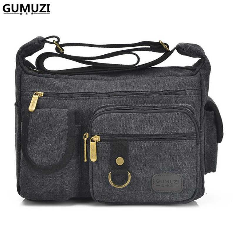b6640bd87352 GUMUZI Fashion Men Shoulder Bag High Quality Canvas Male Crossbody Bag  Large Capacity Casual Men Women