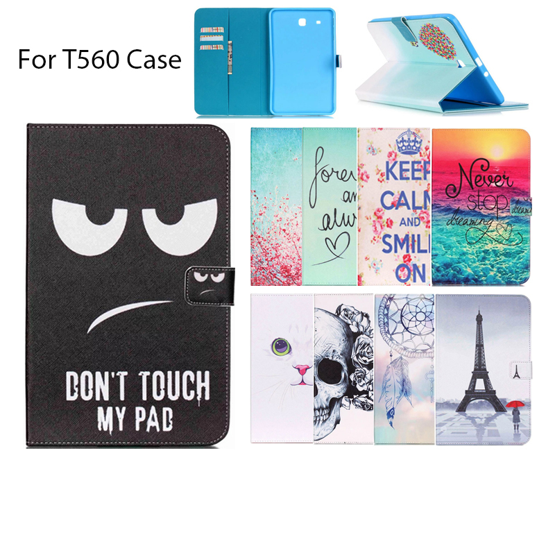 For Samsung Galaxy Tab E 9.6 T560 T561 Case Luxury Colorful drawing PU Leather wallet Protector Tablet cover with slots For T560