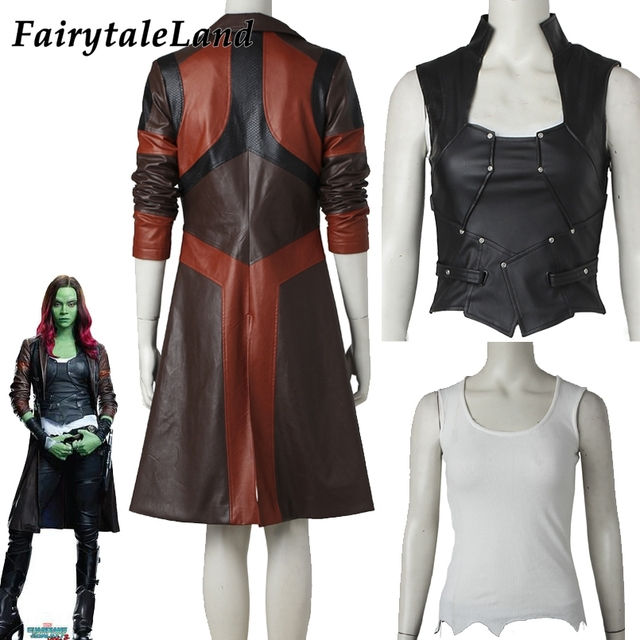 Avengers Gamora Costume Cosplay Halloween Superhero Gamora Jacket Black Vest Custom Made Gamora Coat