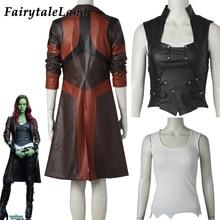 נוקמי Gamora תלבושות קוספליי ליל כל הקדושים Superhero Gamora מעיל שחור אפוד תפור לפי מידה Gamora מעיל