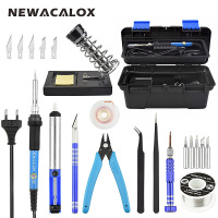 NEWACALOX EU 220V 60W Adjustable Temperature Electrical Soldering Iron Set Welding Solder Station Repair Tool Kit