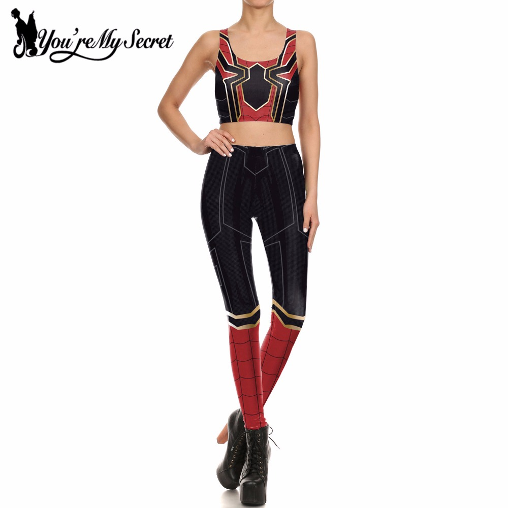 [You're My Secret] Hero Spider Man Cosplay Constume for Women Party Leggings Set 3D Printed Women Leggins Fitness Mujer Sets