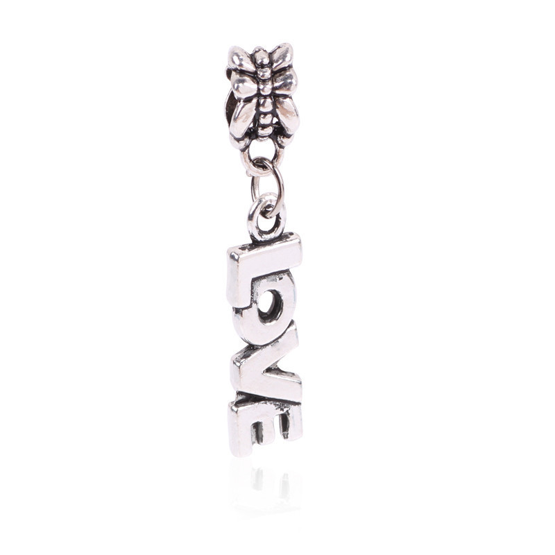 Free Shipping 1Pc Silver Bead Charm European Silver with Letters LOVE Charm Pendant Bead Fit Pandora Bracelet