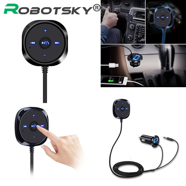 Bluetooth 4.0 Wireless Music Receiver 3.5mm Adapter Handsfree Car AUX Speaker bluetooth car kit  2.1A USB Car Charger