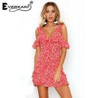 Everkaki Women Boho Floral Print Ruffles Mini Dress Vestidos Backless V Neck Bohemian Red Dresses Femme