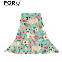 FORUDESIGNS Women Scarves Pug Dog Flower Print Ladies Cartoon Puppy Funny Design Slik Scarf Beach Towel for Females Cute Wraps