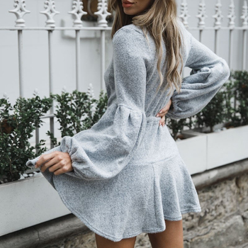 V Neck Ruffle Knitted Sweater