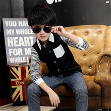 Hot Sale Boys Shirts Cotton Broadcloth Striped Square Collar Boys Kids Shirts New Casual Fashion Childrens Tops Clothing ht027
